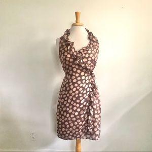 LOFT Gray & Tan Polka Dot Wrap Dress Sz 4